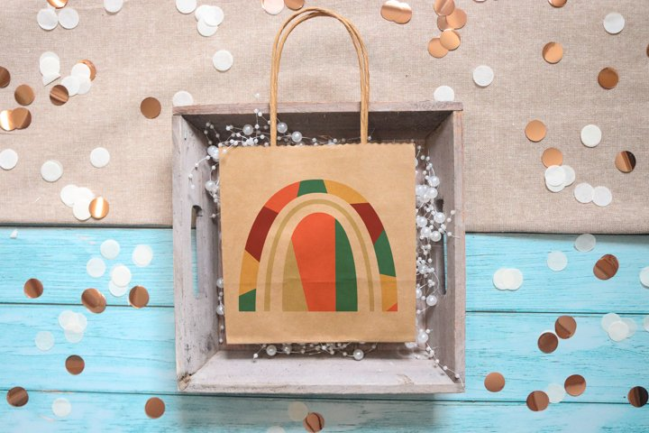Abstract geometric rainbow in the style of boho