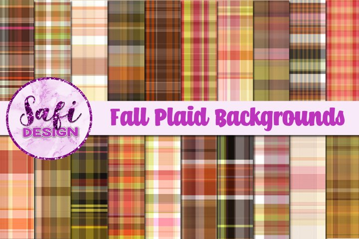 Fall Plaid Digital Papers Backgrounds