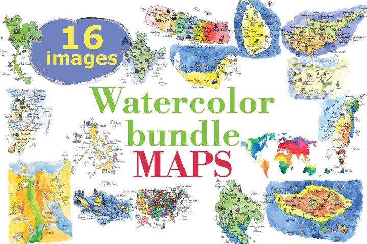 Watercolor bundle maps