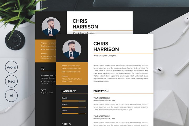 2 Pages Resume Template & Cover Letter