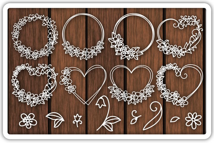 Heart SVG, Floral Frame Cutting Templates, Flower Wreath