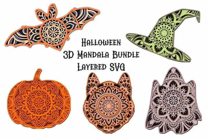 Halloween Bundle Mandala SVG - 3D Layered Mandalas 5 Designs