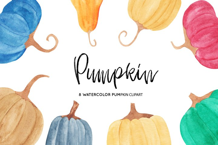 Watercolor Pumpkins Illustrations, Pumpkin Clipart