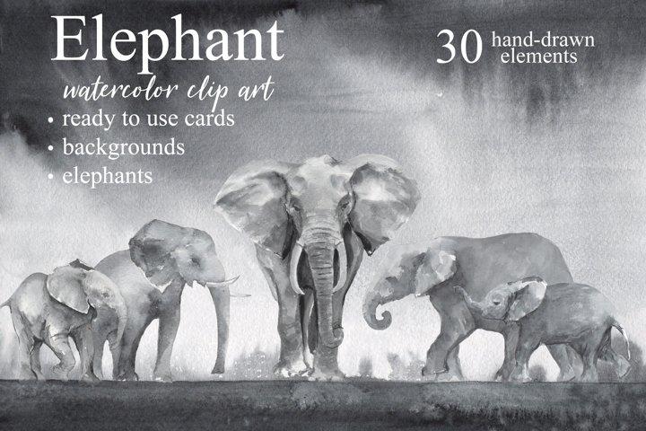 Elephant Watercolor Clip Art