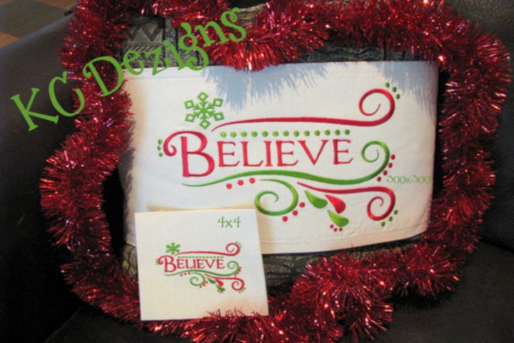 Christmas Believe Machine Embroidery Design