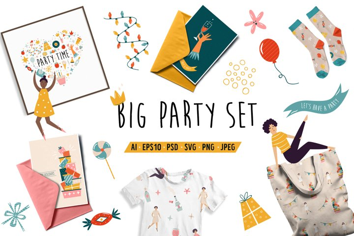 Big Party Set. Graphic Clipart Collection. SVG, PNG, PSD