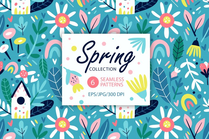 Spring floral Seamless Patterns. Blooming Flowers.