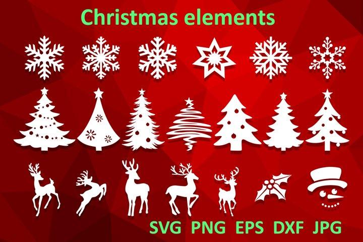 Christmas bundle svg Christmas tree Snowflake Reindeer