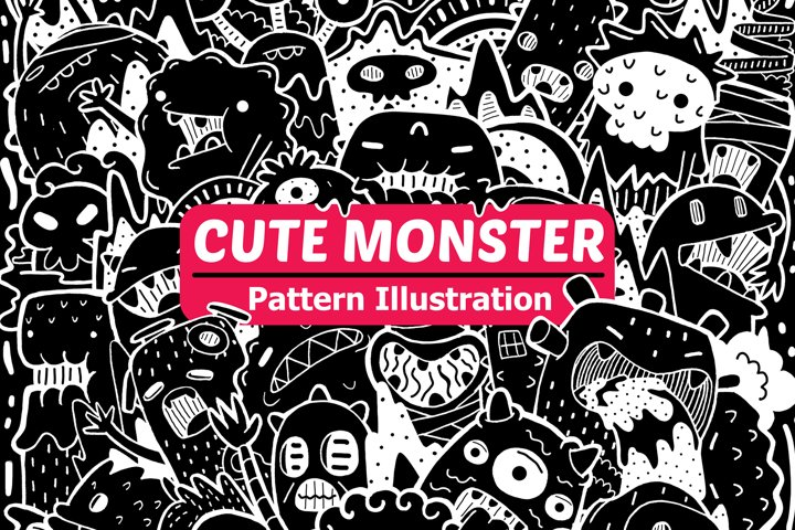 Cute Monster Pattern Illustration