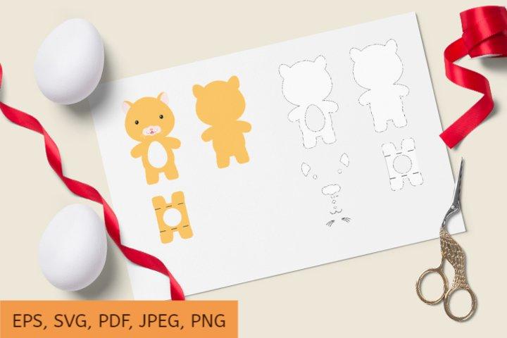 Cute Hamster Chocolate Egg Holder Design, SVG Cutting File