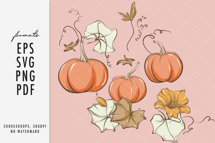 Fall leaves Pumpkin SVG autumn plant vector cricut