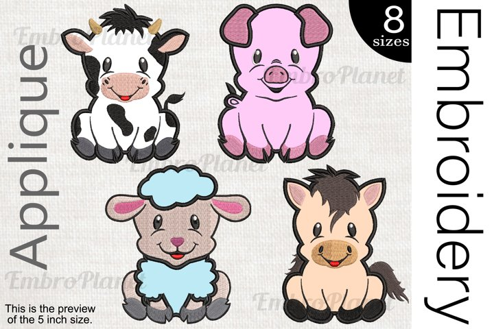 Applique Farm Animals - Embroidery Files - 1473e