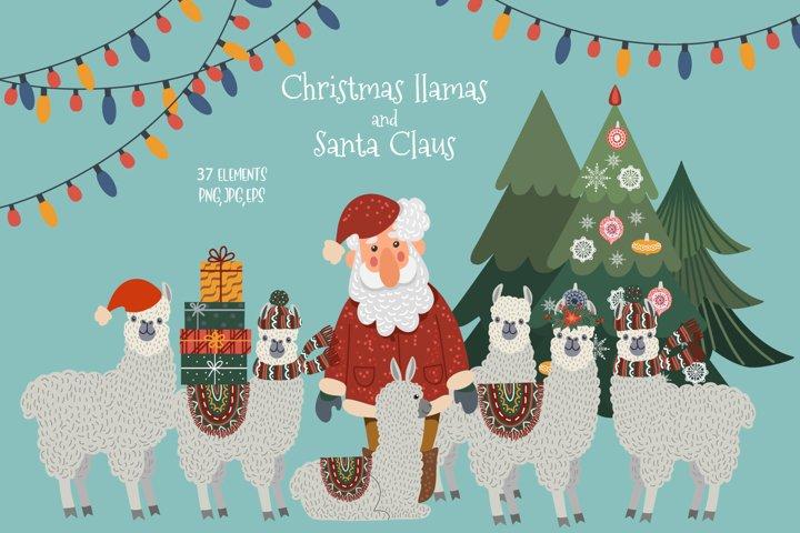 Christmas llamas and Santa Claus, animals clipart png.