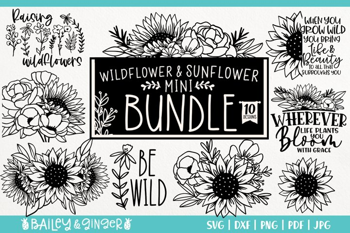 Sunflower and Wildflower SVG Bundle | Floral Line Art