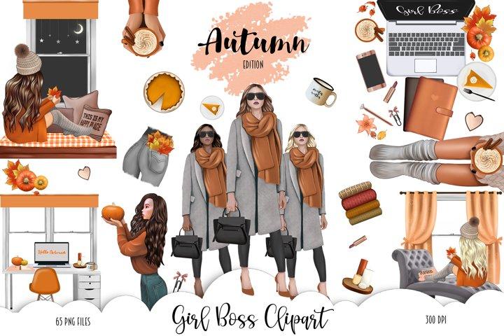 FALL CLIPART - AUTUMN GIRL BOSS, Planner Graphics