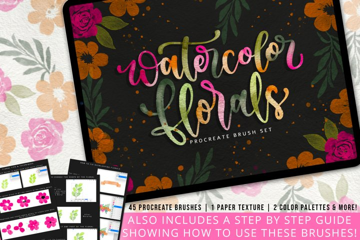 Watercolor Florals Procreate Brushes-Stamps, Palettes & More