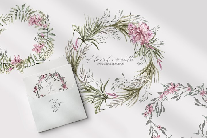 Watercolor floral wreath clipart. 3 Green wreaths