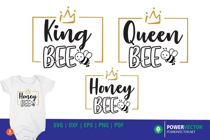 Bee Family SVG | King Queen shirt designs