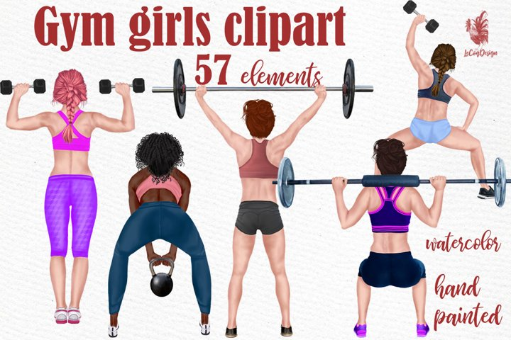 Gym Girls Clipart Gym clipart Exercise Clipart Sport graphic