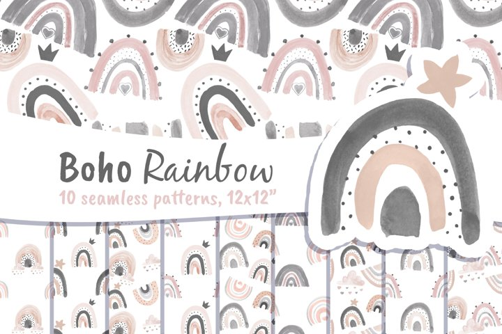 Rainbow Background Digital Paper Watercolor