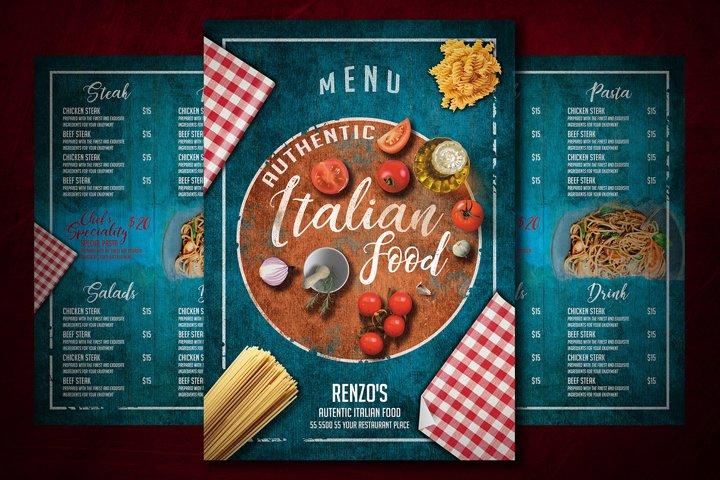 Your Menu Template for Italian Food, Italian Menu template