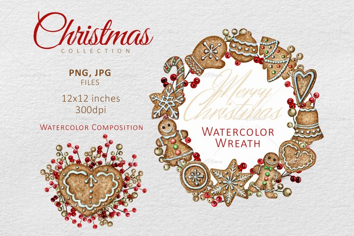 Watercolor Christmas wreath, Gingerbread cookies Clipart