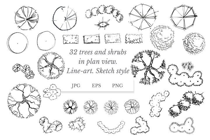 Trees vector top view. Landscape clipart. Line vector art.