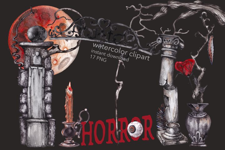 Horror Mystical drawings. Watercolor Halloween clip art. PNG