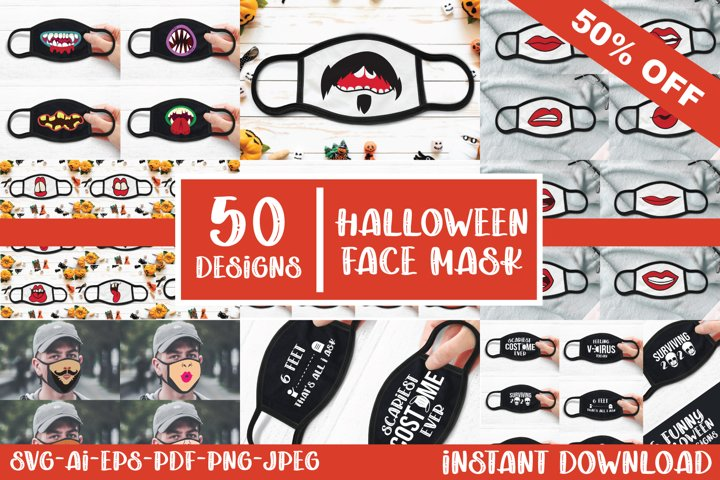 50 Halloween Face Mask Designs SVG, AI, EPS, PNG, JPEG, PDF