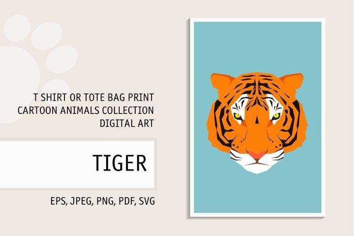 Tiger portrait. Digital art for t shirt, tote bag print.
