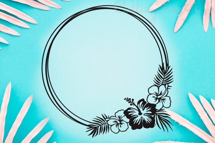Floral frame svg, Tropical frame svg, Hibiscus svg