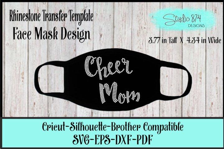 Face Mask Rhinestone SVG Template - Cheer Mom