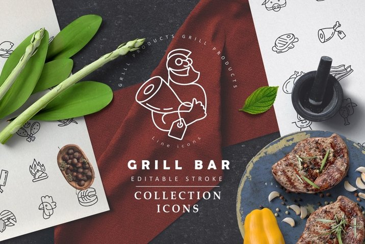 Meat & grill icons & logos
