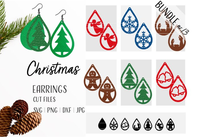 Christmas Earrings Bundle Svg / Leather / Faux / Wood