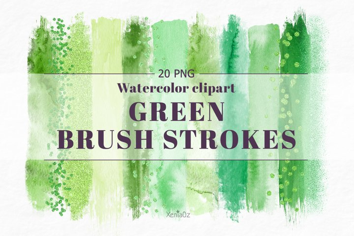 Watercolor Brush Strokes Clipart, Green Paint Stroke, PNG