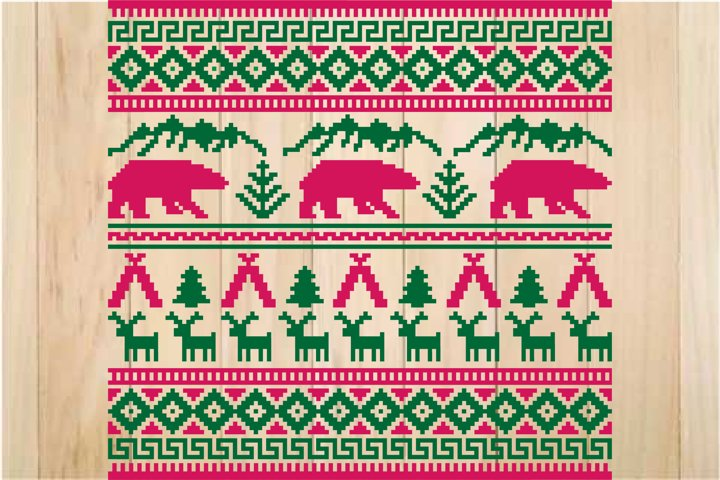 Ugly Christmas Ornament SVG, Nordic Pattern
