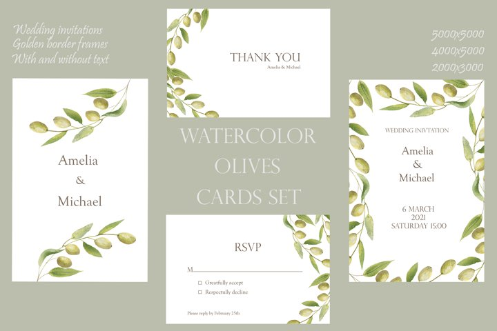 Watercolor green olives wreath and golden frames, wedding in