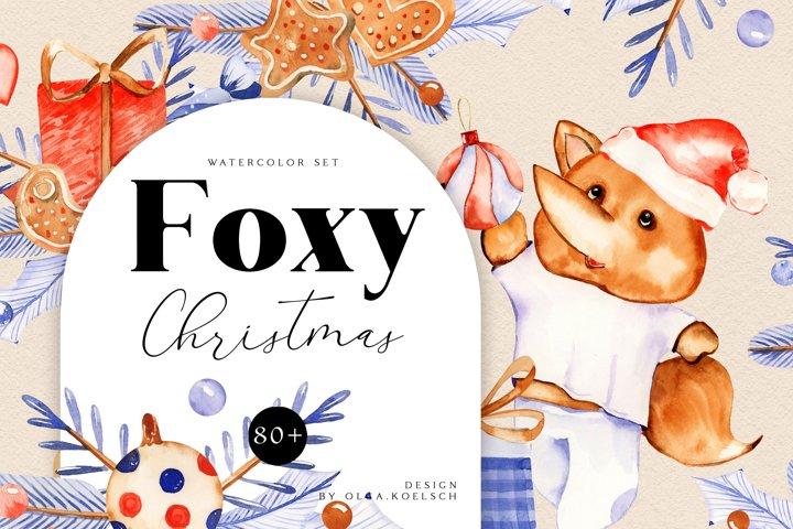 Fox watercolor christmas clipart Kids christmas nursery art