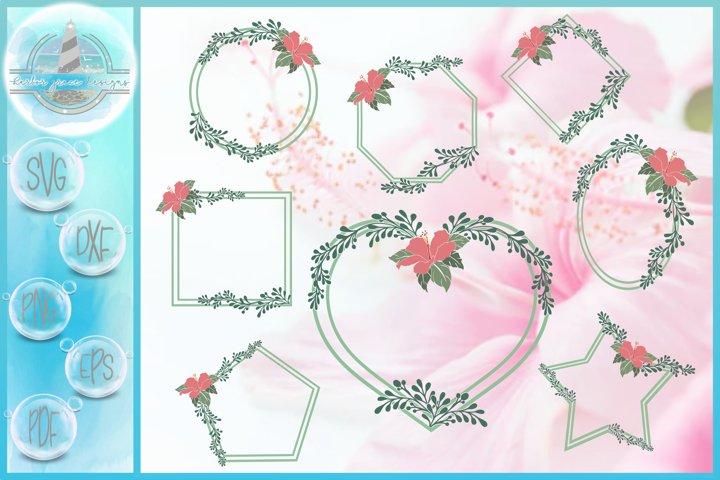SVG Hibiscus Flower And Leaves Shape Frame Bundle SVG