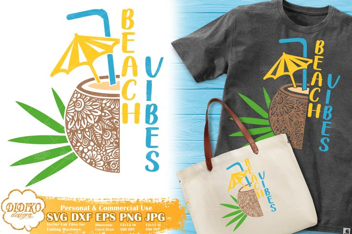 Coconut Zentangle SVG | Cocktail SVG |Tropical Vacation SVG