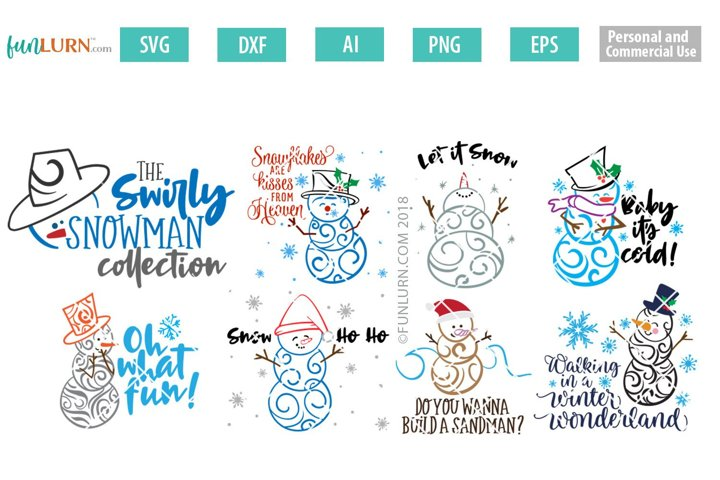 Swirly Snowman Bundle SVG