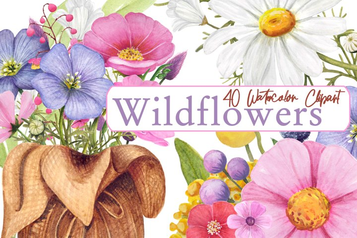 Watercolor Wildflower PNG Summer clipart, Floral bouquet png