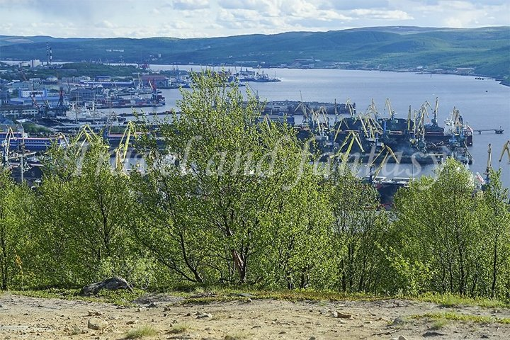 Natural landscape with a view of the Kola Bay.