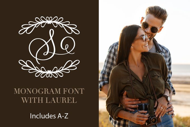 Laurel With Monogram Font - A-Z Letters