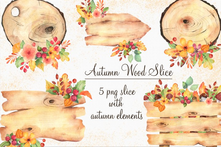 Autumn wood slice clipart in watercolor