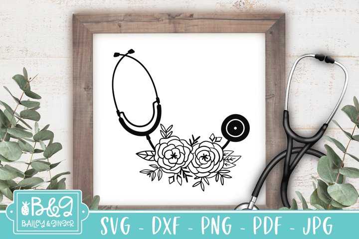 Floral Stethoscope SVG File, Nurse, Doctor, Medical