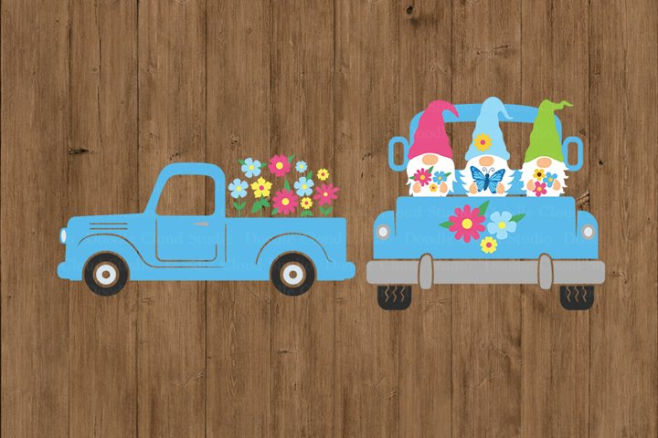 Spring Flowers Truck SVG Cut Files, Spring Truck with Gnome.