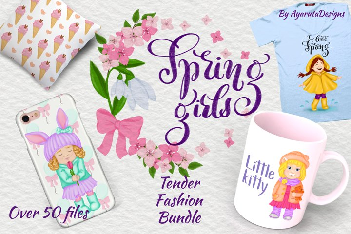 Spring Girls PNG Clipart, cute flower baby fashion bundle