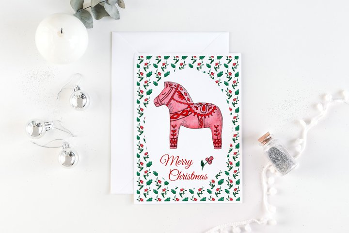 Red dala horse card. Merry Christmas card 5x7 inches JPG.
