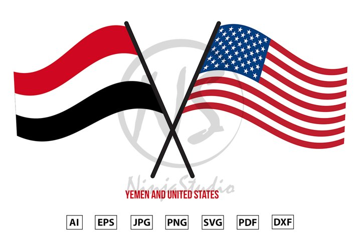 Yemen and United States Flags Crossed And Waving Flat Style